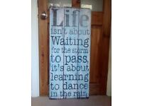 "Large drift wood wall art - ""Life is about learning to dance in the rain"""