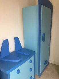 Boys bedroom furniture, race car bed ,book shelves & storage units