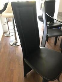 6 black leather dining chairs Furniture Village