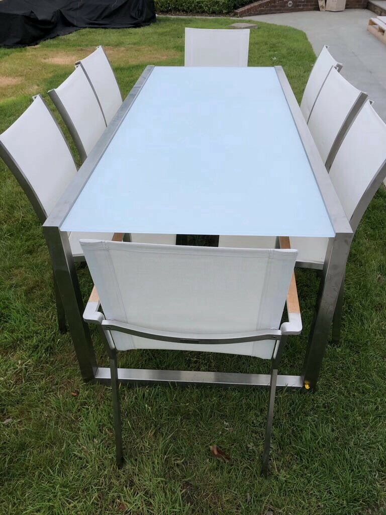 Outdoor Modern Garden Dining Table Chairs Royal Botania White Glass Top And Stainless Steel Frame