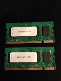 (2x) 1GB PC2-5300S DDR2 RAM