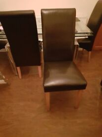 Set of 4 Brown Leather Dining Chairs - Quick Urgent Sale
