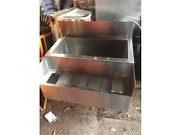 BAR ICE / COCKTAIL CABINET – STAINLESS STEEL 91cm long x 73cm deep x 89cm high (to counter)