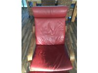 IKEA Poang Red Leather Chair with Footstool