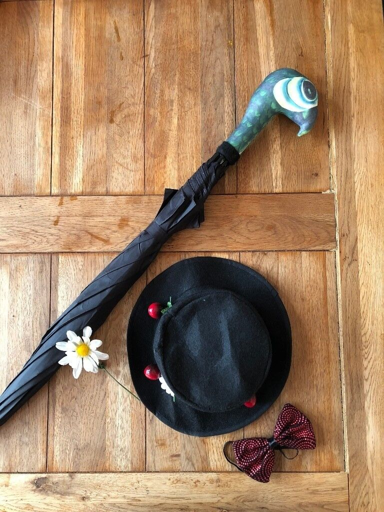 Mary Poppins Fancy Dress Accessories Hat Umbrella And