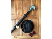 Mary Poppins fancy dress accessories - hat, umbrella and bowtie