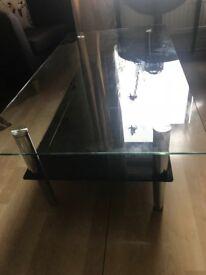 Beautiful glass top chrome coffee table