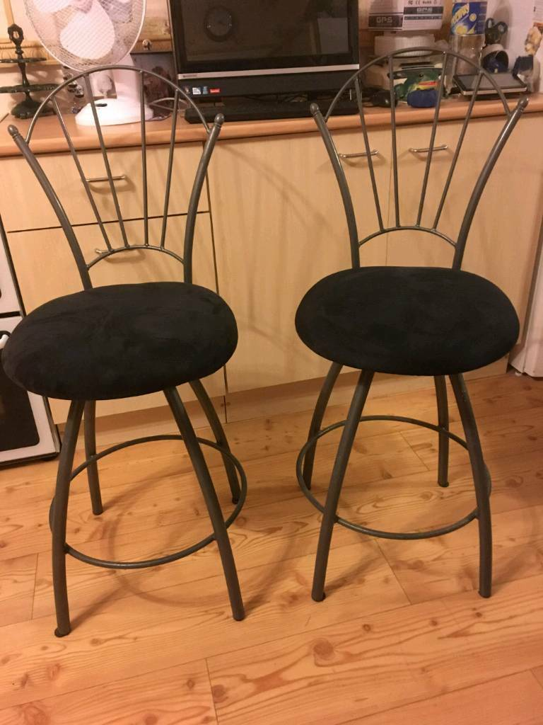 Breakfast Bar Stools X2 Kitchen Usa American Diner With Swing Back Movement