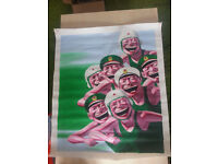 Laughing Faces by Chinese artist Yue Minjun - Unframed Reproduction Canvas Print - 60 x 70 cm approx