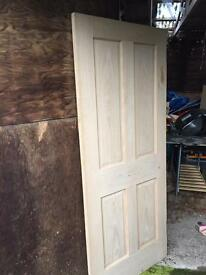 5 Oak veneered 4 panelled doors,