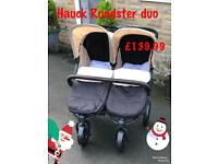 Exdisplay Hauck roadster duo side by side double buggy Pram pushchair with cosytoes & raincover