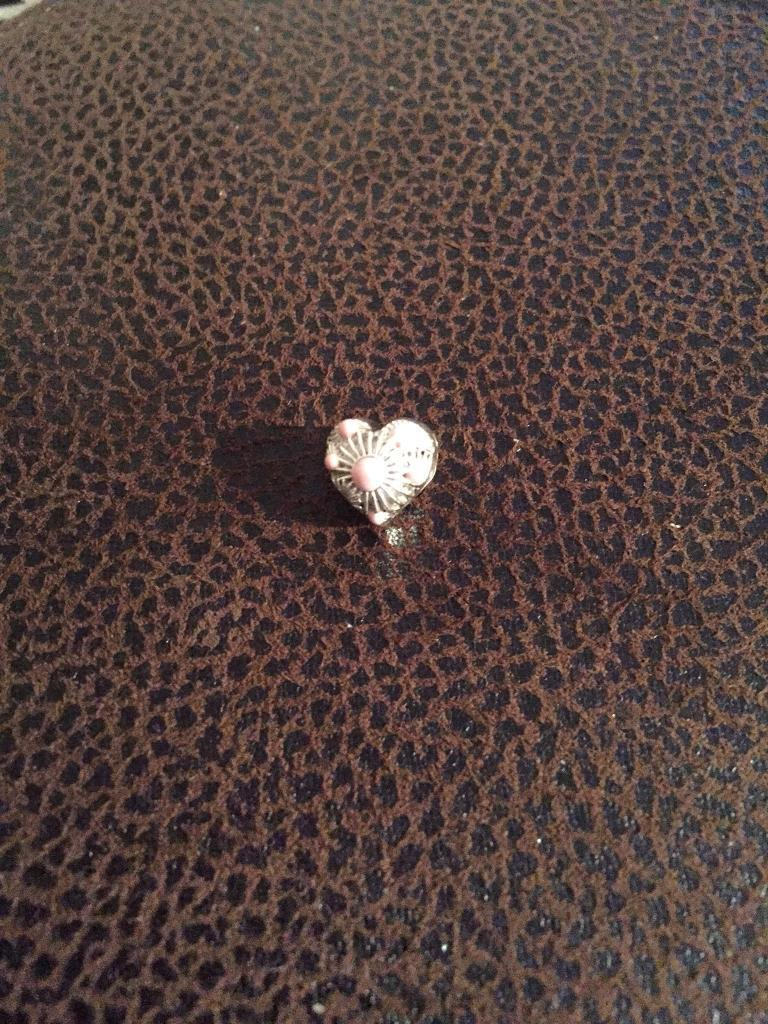 Silver and pink heart charm from truth