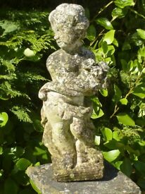 CUTE VINTAGE CHERUB WITH ROSES GARDEN STATUE VERY WELL WEATHERED