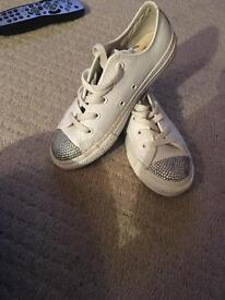 White leather converse with bling toes uk 1