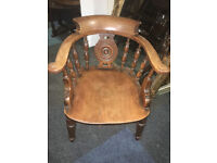 Wonderful Antique Victorian Carved Solid Oak Smokers' Bow Office Desk Chair
