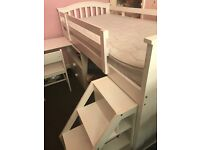 Cabin bed with pull out table and steps