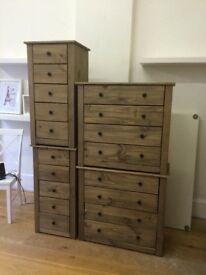 Wooden Chest Drawers x4 set