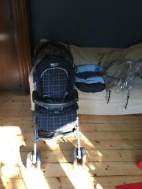 Mamas and papas pram pramette push chair with foot muff and raincover