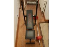 Weiider weight bench with barbell 28kg
