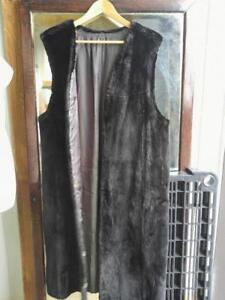 REAL FUR LONG VEST OR BUTTON-IN LINING for Superwarmth this winter OAKVILLE BLACK Warm Liner for any Coat or Jacket