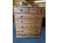 Pine chest of drawers, 2 over 5