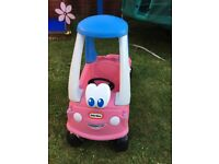 Little tikes pink coupe car with trailer