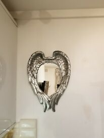 Hanging Silver Winged Mirror