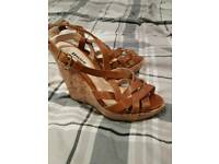 women's size 4 Dune Brown wedges in excellent condition