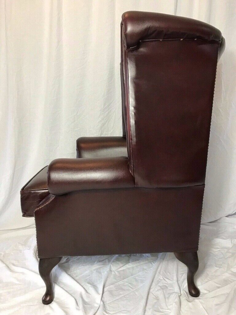 The Best Luxury Comfort Handmade Chesterfield Style Leather Wingback Armchair Oxblood Red Furniture Antique Furniture
