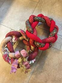 2 Plaited Christmas Wreaths - (NEW)
