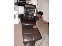 Black Leather reclining chair and foot stall
