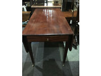 Fine Antique Victorian Mahogany Pembroke Drop Leaf Table with Drawer on Brass Castors