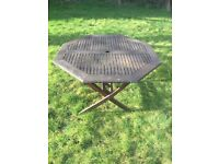 Solid Wooden garden dining table with parosol hole