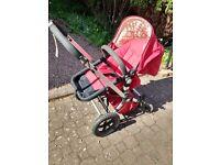 Bugaboo buggy/ pramtravel system w bassinet, pushchair, footmuff, raincover, buggy board