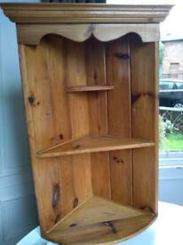 Large pine corner shelf unit/dresser top