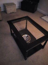 Dark Oak Glass top coffee table