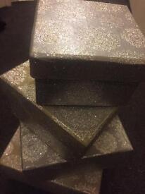4 Gold /Silver Glitter Boxes