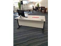 12 Pale grey/White 120cm single computer desks/tables £80 each