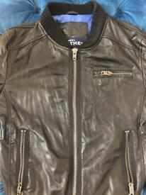 Superdry black leather bomber