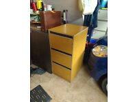 Filing cabinet - wood effect three drawers