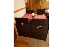 Rattan table with chairs and pouffes/foot stools