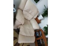 Cream real leather, electric reclaining armchair 220V
