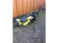 Petrol lawnmower and strimmer