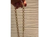 "24"" Gold Plated Belcher Mens Gold Chain 12mm 146g"