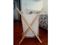 Cream Linen and Wooden Laundry Basket