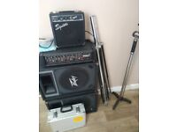 Speakers, amps, mics and stands, cables, pedals