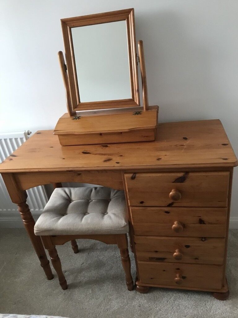 Pine Dressing Table with Mirror & Stool - Good Condition