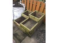 Wooden box planters