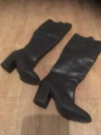 Black leather knee high boots size 4