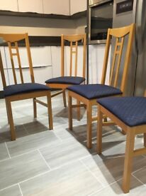 4 Dining Chairs - beech frame blue seat